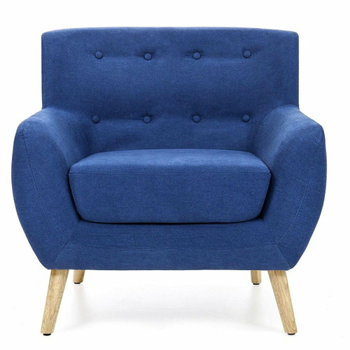 FastFurnishings Blue Linen Upholstered Armchair with Mid-Century Modern Style Wood Legs