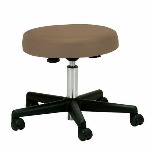 FastFurnishings Adjustable Height Pneumatic Rolling Stool with Latte Brown Padded Seat
