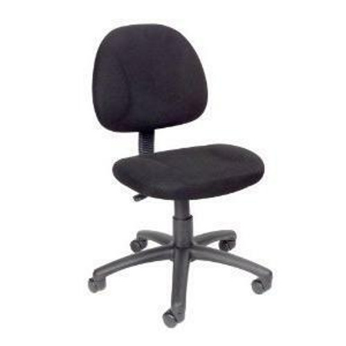 FastFurnishings Black Office Chair with Padded Seat and Back with Lumbar Support