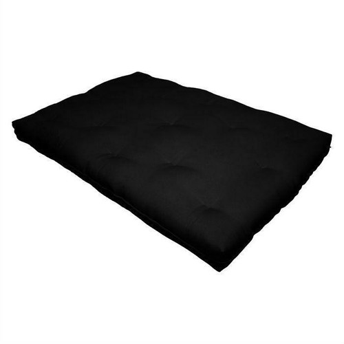 FastFurnishings Full size 8-inch Thick Cotton Poly Futon Mattress in Black