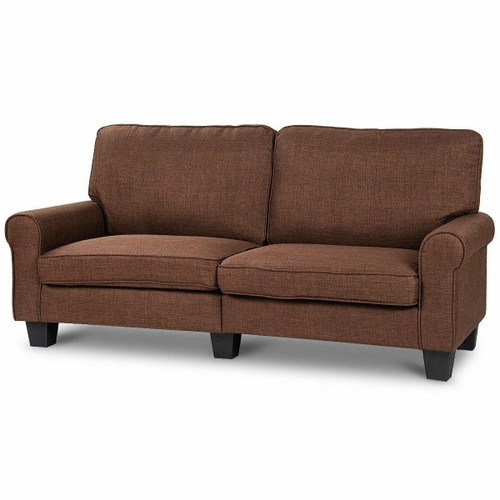 FastFurnishings Classic Brown Fabric Loveseat Sofa with Armrests