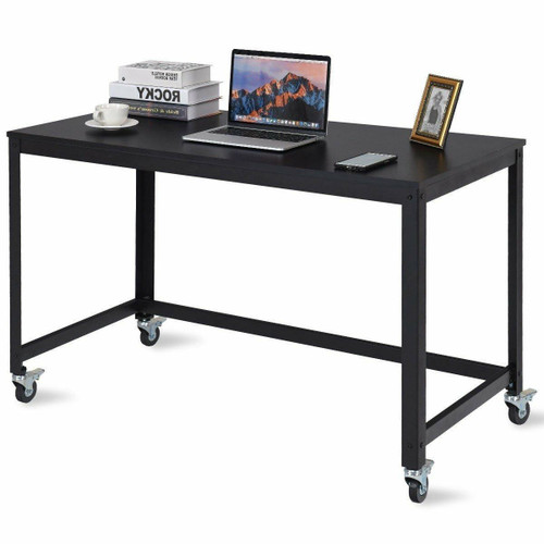 FastFurnishings Mobile Steel Frame Laptop Computer Desk with Black Wood Top and Locking Casters