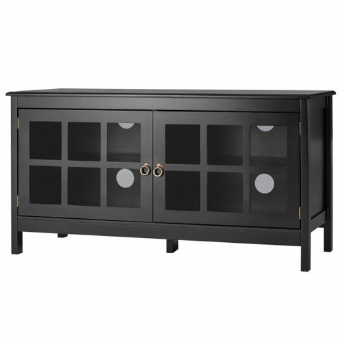 FastFurnishings Black Wood Entertainment Center TV Stand with Glass Panel Doors
