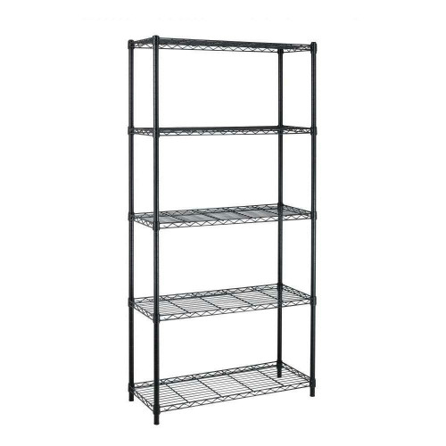 FastFurnishings Black Metal 5-Shelf Heavy Duty Shelving Unit Storage Rack