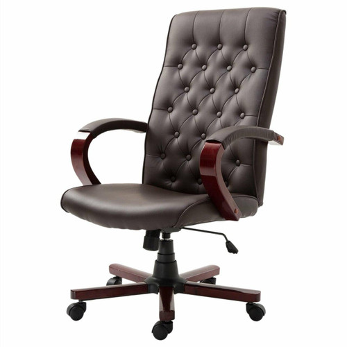 FastFurnishings Brown Wooden Faux Leather Adjustable High Back Executive Home Office Chair