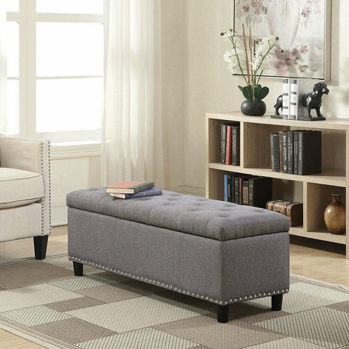 FastFurnishings Grey Linen 48-inch Bedroom Storage Ottoman Bench Footrest
