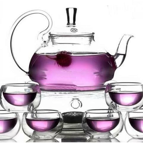 FastFurnishings 8-Piece Glass Teapot Set with 6 Glasses and Warmer