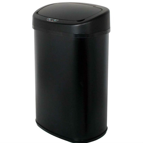 FastFurnishings Black 13-Gallon Kitchen Trash Can with Touch Free Motion Sensor Lid