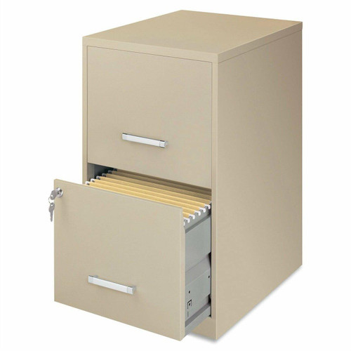 FastFurnishings Metal Two Drawer Locking Vertical File Cabinet in Putty Color