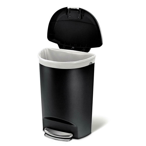 FastFurnishings Black 13-Gallon Kitchen Trash Can with Foot Pedal Step Lid