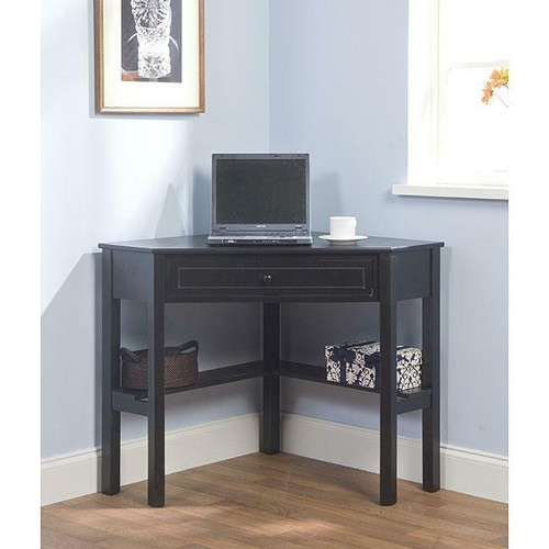 FastFurnishings Corner Computer Desk in Black Wood