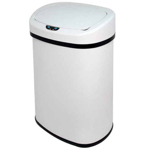 FastFurnishings White 13-Gallon Kitchen Trash Can with Touch Free Motion Sensor Lid