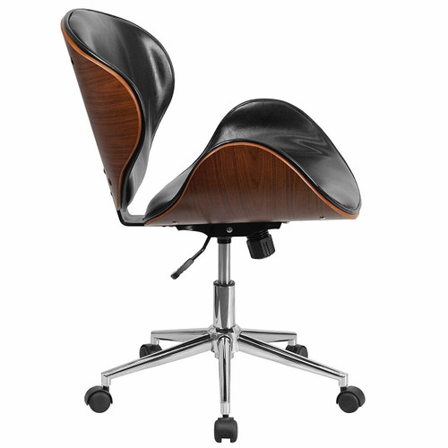 FastFurnishings Mid-Back Walnut / Black Faux Leather Office Chair with Curved Bentwood Seat