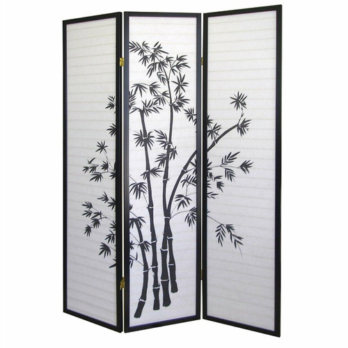 FastFurnishings 3-Panel Room Divider Privacy Screen with Bamboo Design Black White