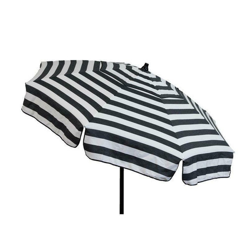 FastFurnishings 6 Foot Black White Stripe Drape Umbrella Manual Lift with Tilt