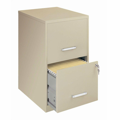 FastFurnishings Locking 2-Drawer Vertical File Cabinet in Putty Color