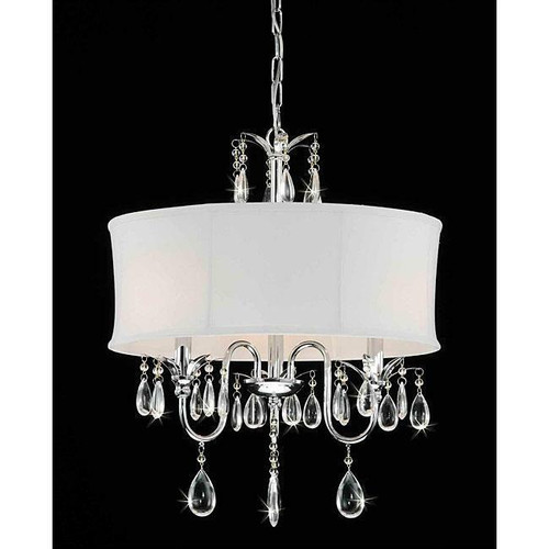 FastFurnishings 3-Light Chrome Crystal Chandelier with Fabric Shade