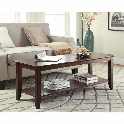 FastFurnishings Espresso Wood Grain Coffee Table with Bottom Shelf