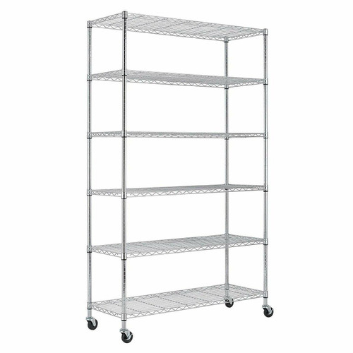 FastFurnishings Heavy Duty 6-Shelf Metal Storage Rack Shelving Unit with Casters