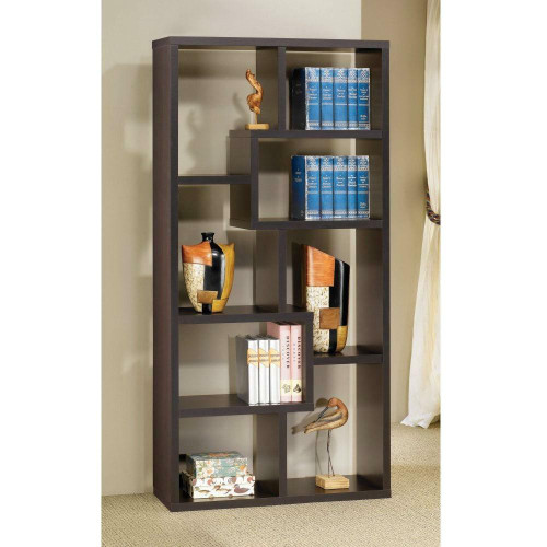 FastFurnishings Modern Cube Contemporary Style Bookcase in Cappuccino Finish