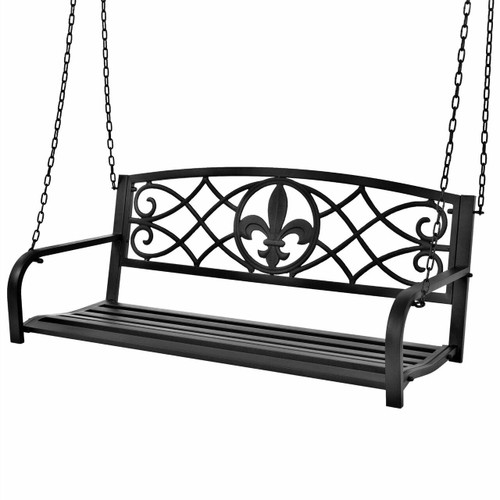 FastFurnishings Farmhouse Black Sturdy 2 Seat Porch Swing Bench Scroll Accents