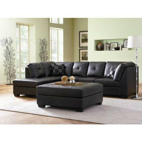 FastFurnishings Black Bonded Leather Sectional Sofa with Left Side Chaise