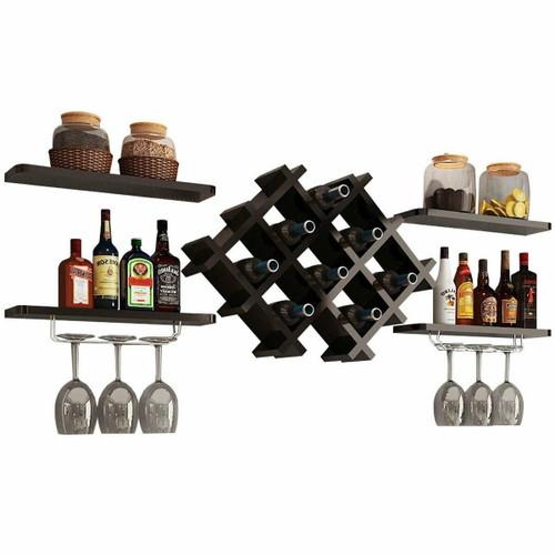 FastFurnishings Black 5 Piece Wall Mounted Wine Rack Set with Storage Shelves