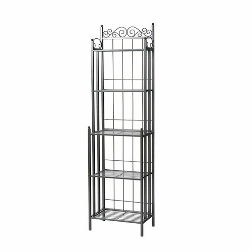 FastFurnishings Narrow Wrought Iron Bakers Rack with 5 Shelves