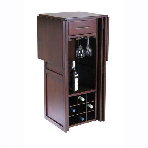 FastFurnishings 9 Bottle Walnut Wine Bottle Rack Mini Bar Expandable Counter