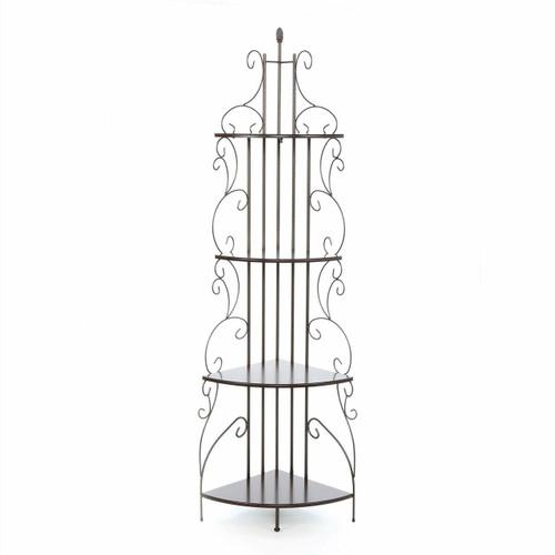 FastFurnishings Ornate 4-Tier Metal Corner Bakers Rack Kitchen Dining Shelf