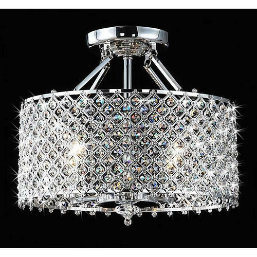 FastFurnishings Chrome and Crystal 4 Light Round Ceiling Chandelier