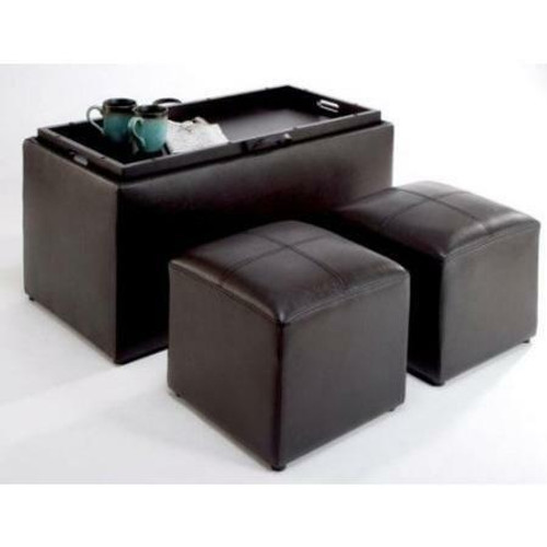 FastFurnishings Faux Leather Storage Bench Coffee Table with 2 Side Ottomans