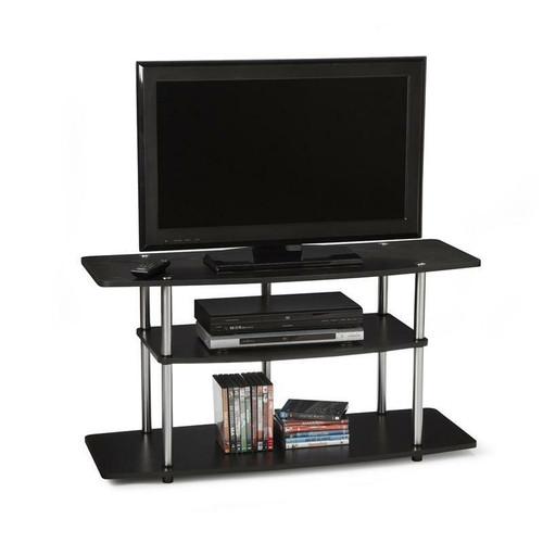 FastFurnishings 3-Tier Flat Screen TV Stand in Black Wood Grain / Stainless Steel