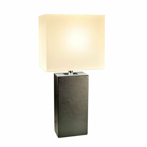 FastFurnishings Contemporary Black Leather Table Lamp with White Fabric Shade