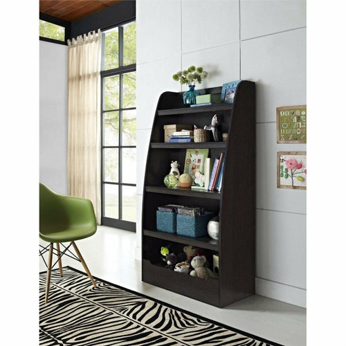 FastFurnishings Kids 4-Shelf Bookcase in Espresso Wood Finish Childs Bedroom