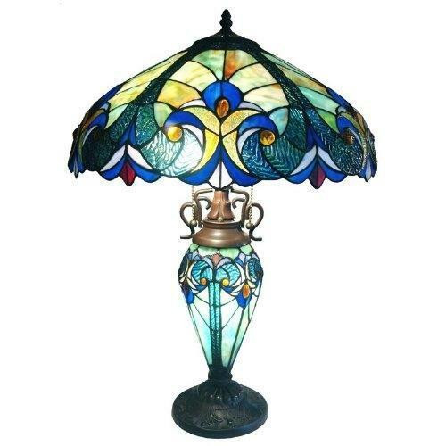 FastFurnishings 3-Light Victorian Tiffany Style Multi-Colored Glass Table Lamp