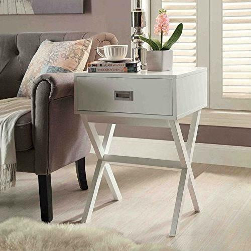 FastFurnishings White Modern 1-Drawer End Table Nightstand with X-Legs
