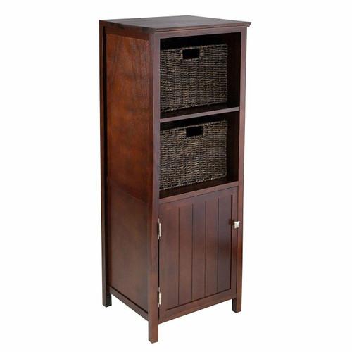 FastFurnishings Walnut 3 Piece Cabinet Cupboard Storage with 2 Foldable Baskets
