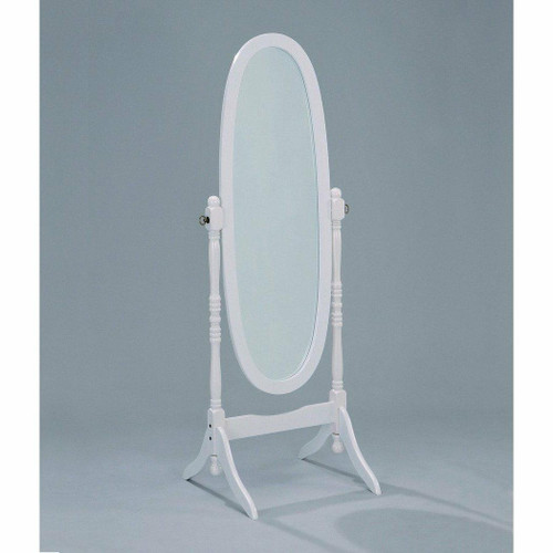 FastFurnishings Oval Cheval Floor Mirror in White Finish