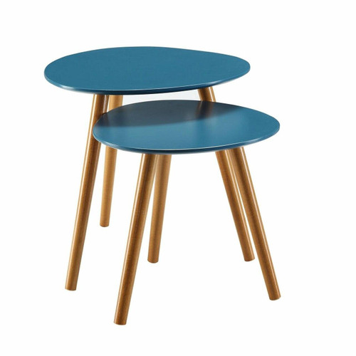 FastFurnishings Set of 2 - Mid Century Modern Nesting End Tables in Blue with Solid Wood Legs
