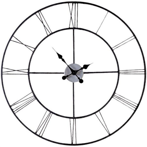 FastFurnishings Oversized 30-inch Black Wall Clock with Roman Numerals