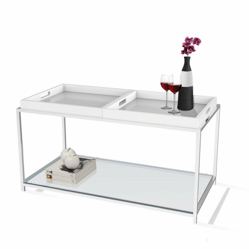 FastFurnishings Modern Chrome Metal Coffee Table with 2 White Removable Trays