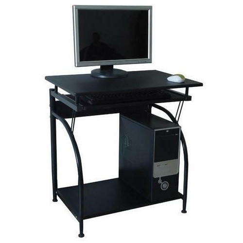 FastFurnishings Computer Desk with Pullout Keyboard Tray and Bottom Shelf