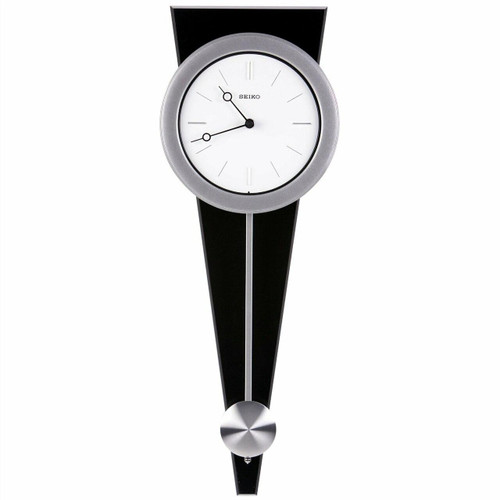 FastFurnishings Contemporary Wall Clock with Functional Pendulum Design