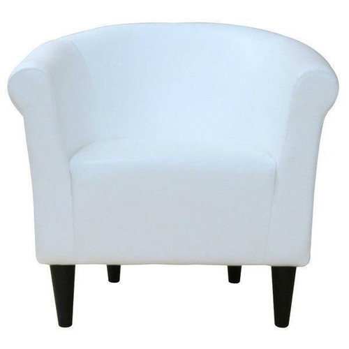 FastFurnishings Modern Classic White Faux Leather Upholstered Club Chair - Made in USA