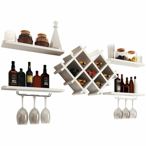 FastFurnishings White 5 Piece Wall Mounted Wine Rack Set with Storage Shelves