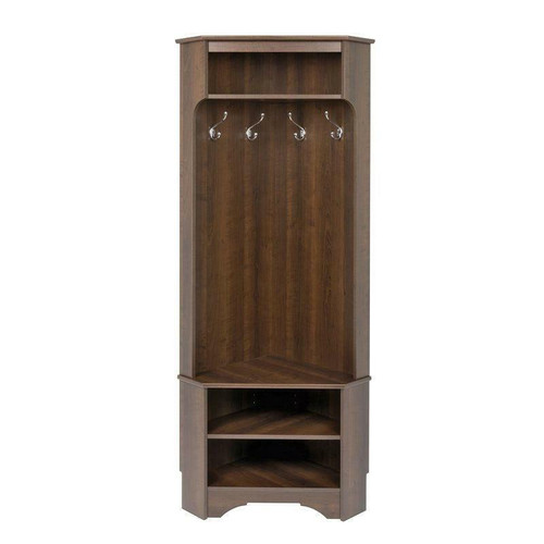 FastFurnishings Tall Sturdy Entryway Corner Hall Tree Dark Brown