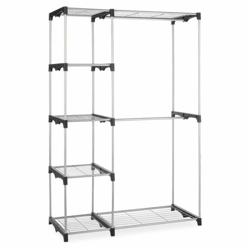 FastFurnishings Freestanding Closet Organizer Garment Rack Storage Unit with Hanging Rods