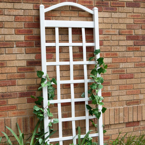FastFurnishings 6 Ft White Vinyl Garden Trellis with Arch Top with Ground Mount Anchors