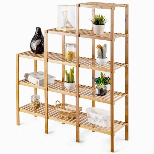 FastFurnishings Bamboo Wood 5-Tier Versatile Bookcase Plant Stand Storage Rack